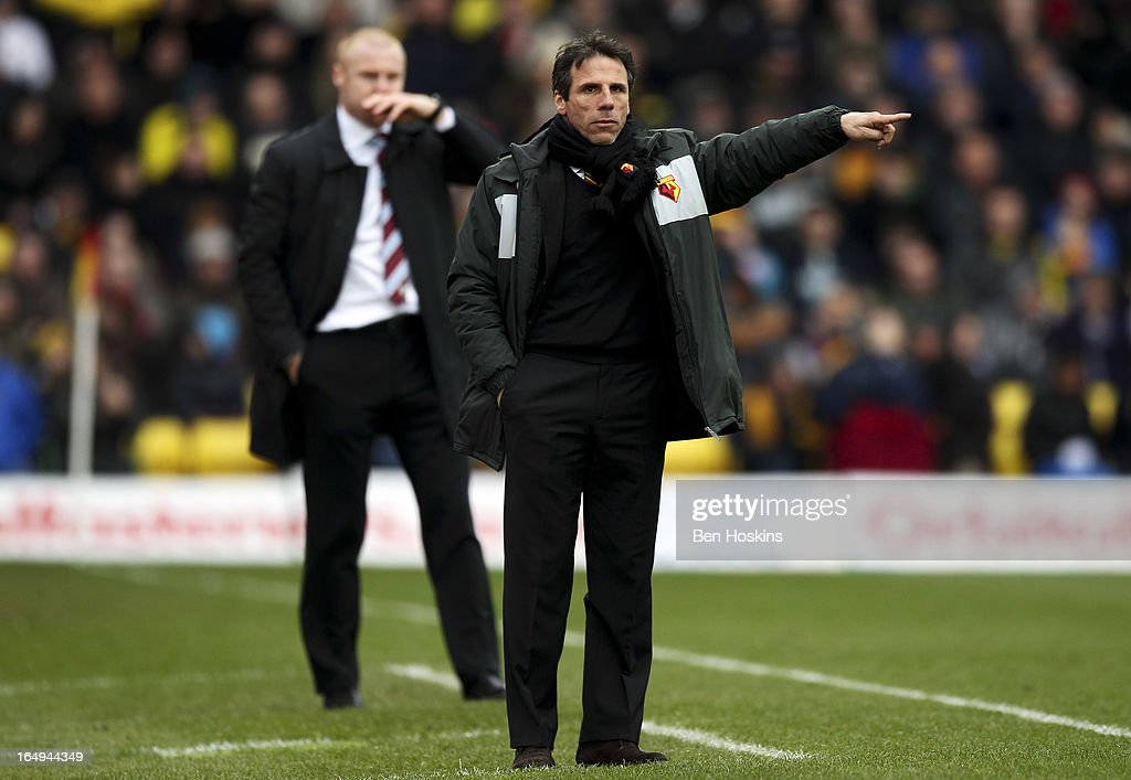 Watford manager <a gi-track='captionPersonalityLinkClicked' href=/galleries/search?phrase=Gianfranco+Zola&family=editorial&specificpeople=213951 ng-click='$event.stopPropagation()'>Gianfranco Zola</a> gives instructions during the npower Championship match between Watford and Burnley at Vicarage Road on March 29, 2013 in Watford, England.