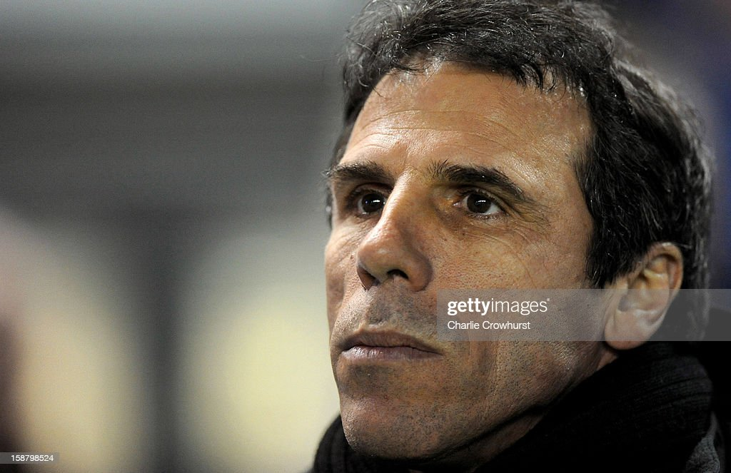 Watford manager <a gi-track='captionPersonalityLinkClicked' href=/galleries/search?phrase=Gianfranco+Zola&family=editorial&specificpeople=213951 ng-click='$event.stopPropagation()'>Gianfranco Zola</a> pictured during the npower Championship match between Brighton & Hove Albion and Watford at The Amex Stadium on December 29, 2012 in Brighton England.
