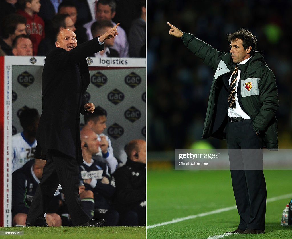 In this composite image a comparison has been made between Watford manager Gianfranco Zola (R) and Crystal Palace manager Ian Holloway. Original image ID's are 168519865 (L) and 152326050 (R). WATFORD, ENGLAND - SEPTEMBER 18: Watford Manager Gianfranco Zola shouts instructions during the npower Championship match between Watford and Brighton & Hove Albion at Vicarage Road on September 18, 2012 in Watford, England.