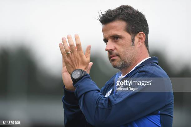 Watford manager Marco Silva looks on during the preseason friendly match between AFC Wimbledon and Watford at The Cherry Red Records Stadium on July...