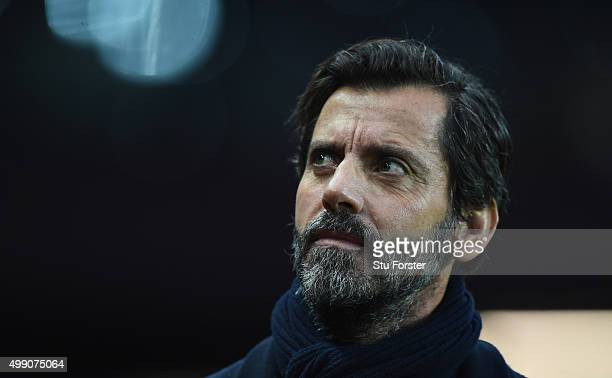 Watford manager Quique Sanchez Flores looks on before the Barclays Premier League match between Aston Villa and Watford at Villa Park on November 28...