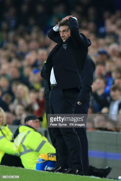 Watford manager Walter Mazzarri during the Premier League match at Goodison Park Liverpool