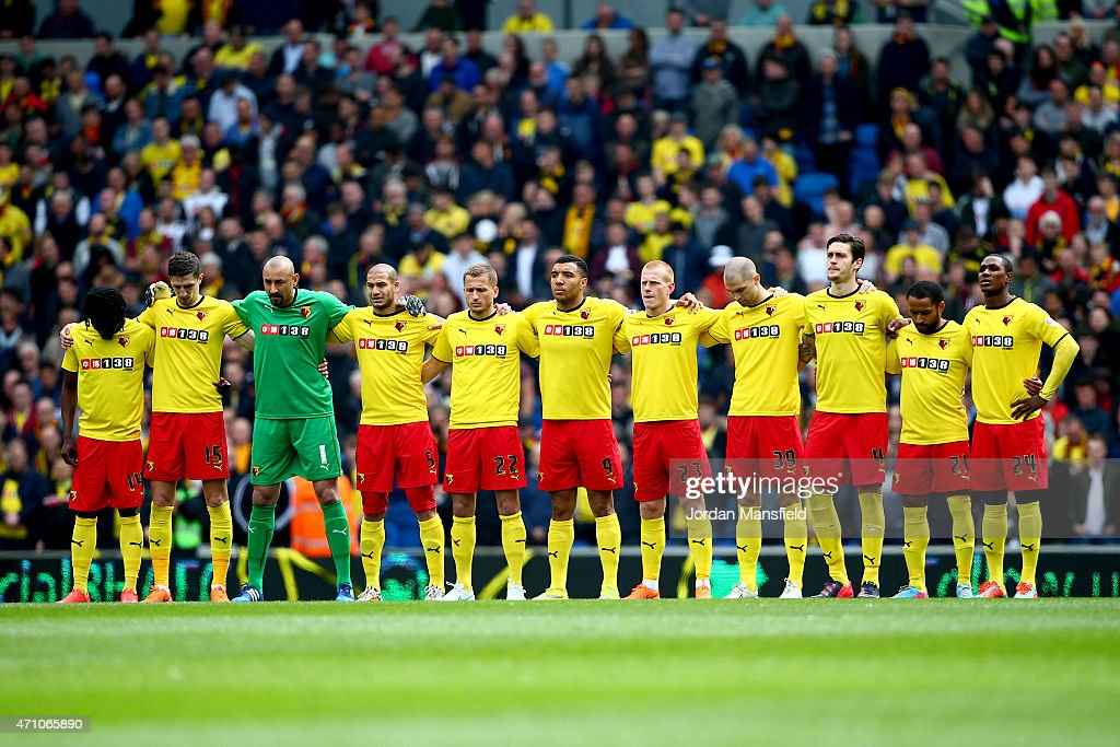 Watford observe a minutes silence in memory of the Bradford City fire during the Sky Bet Championship match between Brighton Hove Albion and Watford...