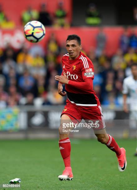 Watford player Jose Holebas in action during the Premier League match between Swansea City and Watford at Liberty Stadium on September 23 2017 in...