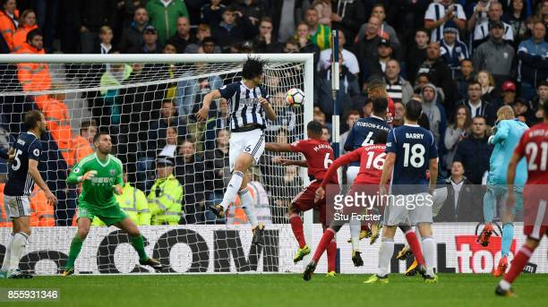 Watford player Richarlison rises to head the second Watford goal during the Premier League match between West Bromwich Albion and Watford at The...
