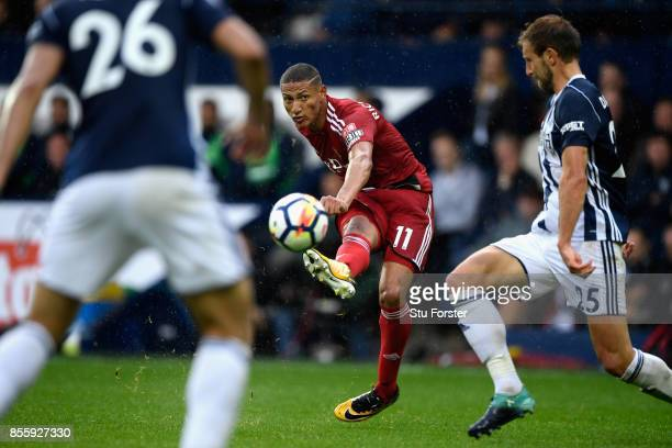Watford player Richarlison shoots during the Premier League match between West Bromwich Albion and Watford at The Hawthorns on September 30 2017 in...