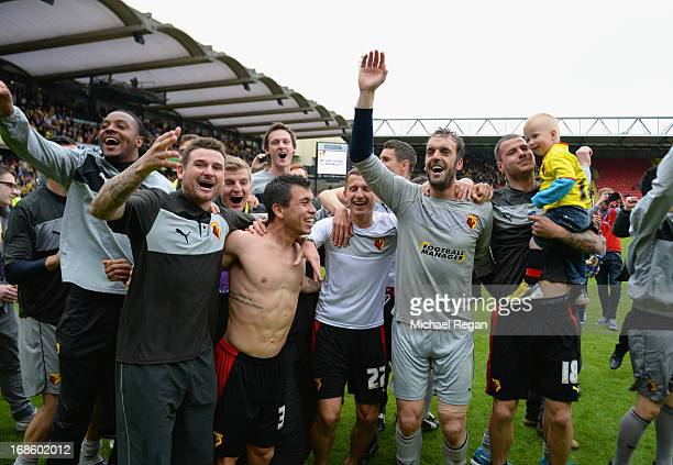 Watford players celebrate after the npower Championship Play Off Semi Final Second Leg between Watford and Leicester City at Vicarage Road on May 12...
