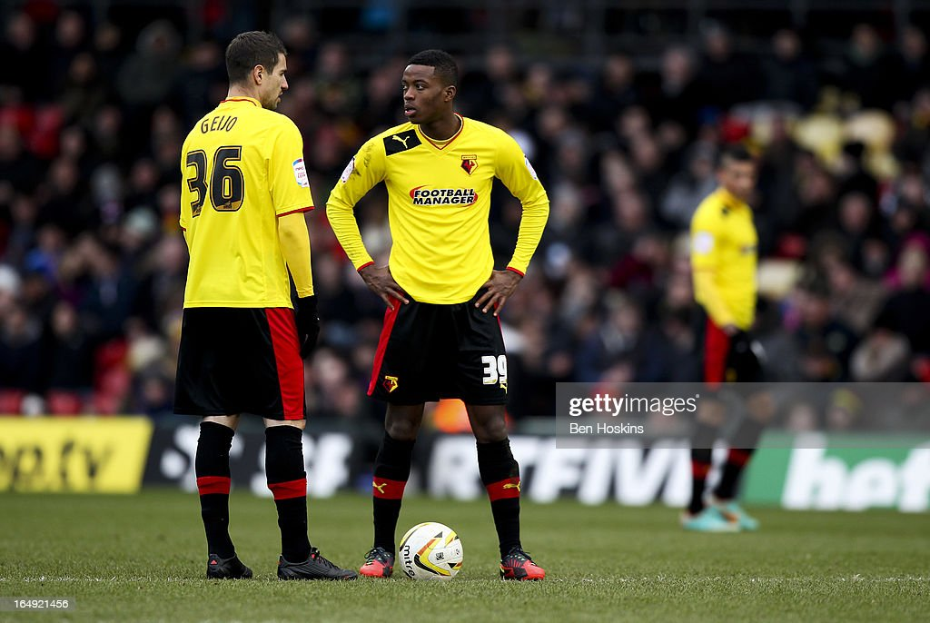Watford players look dejected after conceding a late equaliser during the npower Championship match between Watford and Burnley at Vicarage Road on March 29, 2013 in Watford, England.