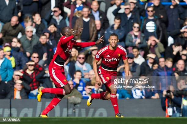 Watford's Abdoulaye Doucoure celebrates scoring his side's equalising goal to make the score 11 during the Premier League match between Chelsea and...