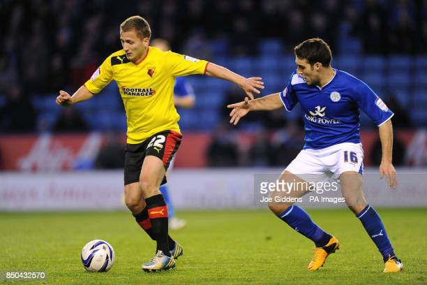 Watford's Almen Abdi and Leicester City's Matty James during the npower Championship match at the King Power Stadium Leicester