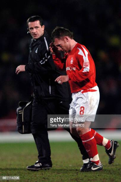 Watford's and Nottingham Forest's physio Gary Fleming with Paul Evans