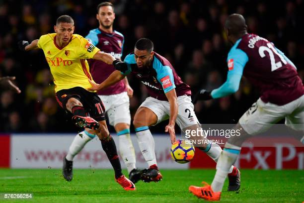 Watford's Brazilian striker Richarlison de Andrade shoots but fails to score during the English Premier League football match between Watford and...