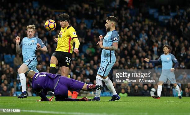 Watford's Daryl Janmaat in action during the Premier League match at the Etihad Stadium Manchester