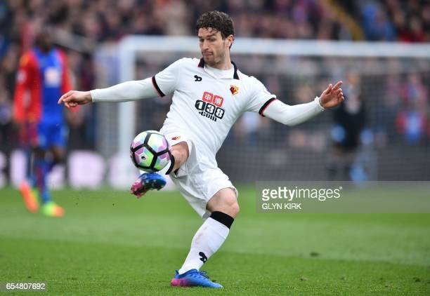 Watford's Dutch defender Daryl Janmaat controls the ball during the English Premier League football match between Crystal Palace and Watford at...
