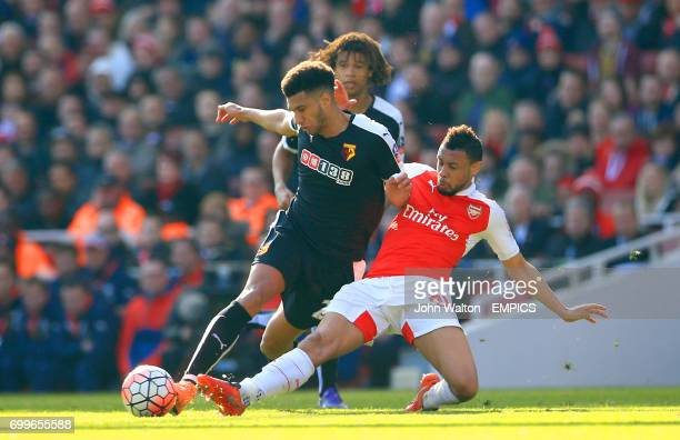 Watford's Etienne Capoue and Arsenal's Francis Coquelin battle for the ball