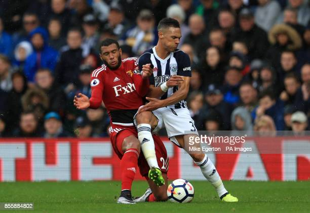 Watford's Etienne Capoue and West Bromwich Albion's Kieran Gibbs battle for the ball during the Premier League match at The Hawthorns West Bromwich