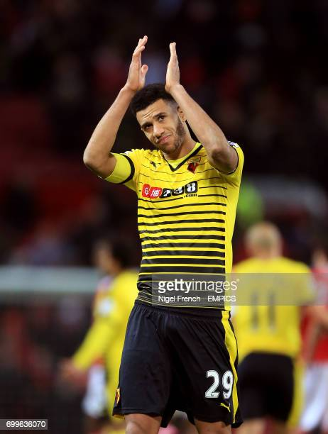 Watford's Etienne Capoue applauds the fans after the game