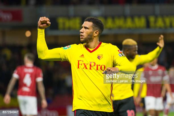 Watford's Etienne Capoue celebrates scoring his side's first goal of the game during the Carabao Cup Second Round match at Vicarage Road Watford