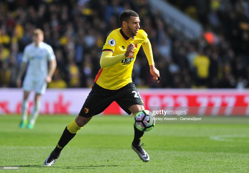 Watford's Etienne Capoue in action during the Premier League match between Watford and Swansea City at Vicarage Road on April 15, 2017 in Watford, England.