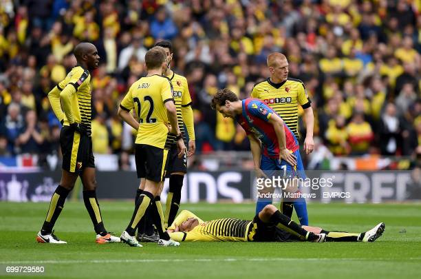 Watford's Etienne Capoue lies injured on the ground as Crystal Palace's Yohan Cabaye stands over him
