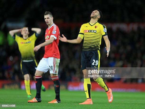 Watford's Etienne Capoue rues a missed chance against Manchester United