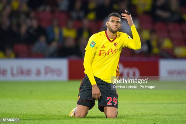 Watford's Etienne Capoue shows his frustration during the Carabao Cup Second Round match at Vicarage Road Watford