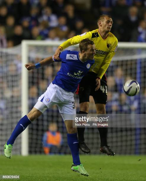 Watford's Fernando Forestieri tussles for header with Leicester City's Harry Kane during the npower Championship PlayOff Semi Final First Leg match...