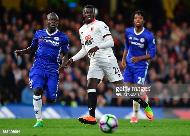 Watford's French striker M'Baye Niang plays the ball during the English Premier League football match between Chelsea and Watford at Stamford Bridge...