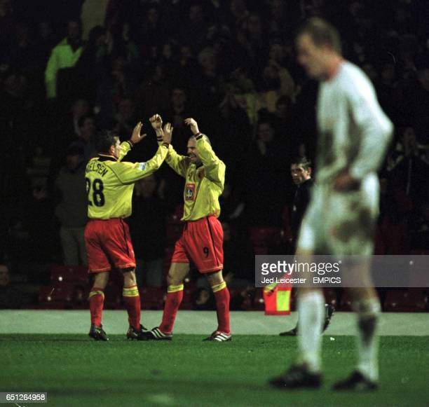 Watford's goalscorer Tommy Mooney celebrates with team mate Allan Nielsen who supplied the pass for his 2nd goal of the match