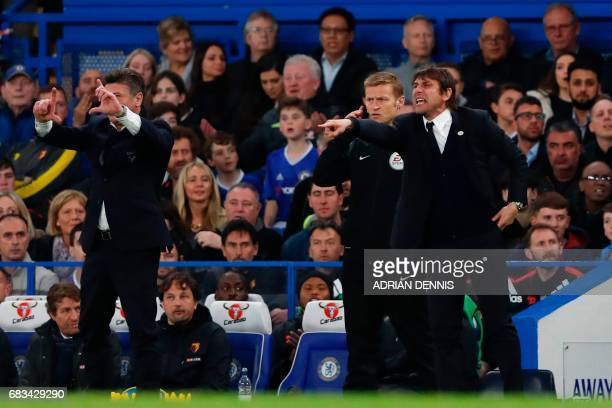 Watford's Italian head coach Walter Mazzarri and Chelsea's Italian head coach Antonio Conte gesture from the touchline during the English Premier...