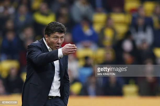 Watford's Italian head coach Walter Mazzarri gestures during the English Premier League football match between Watford and Everton at Vicarage Road...