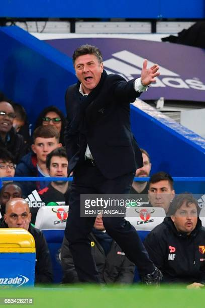 Watford's Italian head coach Walter Mazzarri gestures from the touchline during the English Premier League football match between Chelsea and Watford...