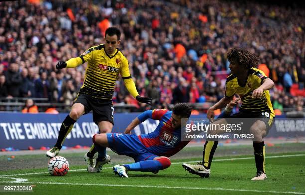 Watford's Jose Manuel Jurado Watford's Nathan Ake and Crystal Palace's Joel Ward battle for the ball