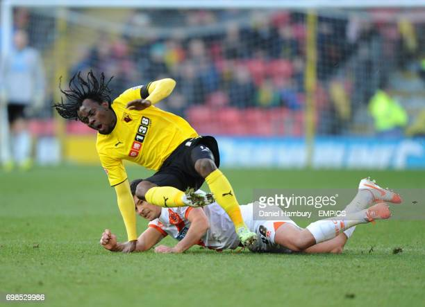 Watford's Juan Carlos Paredes is tackled by Blackpool's Darren O'Dea