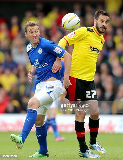 Watford's Marco Cassetti and Leicester City's Harry Kane battle for the ball