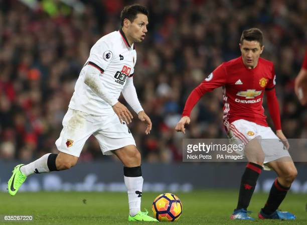 Watford's Mauro Zarate and Manchester United's Ander Herrera in action