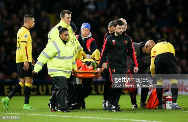 Watford's Mauro Zarate is stretchered off injured during the Premier League match at Vicarage Road Watford
