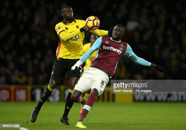 Watford's M'Baye Niang and West Ham United's Cheikhou Kouyate battle for the ball during the Premier League match at Vicarage Road Watford