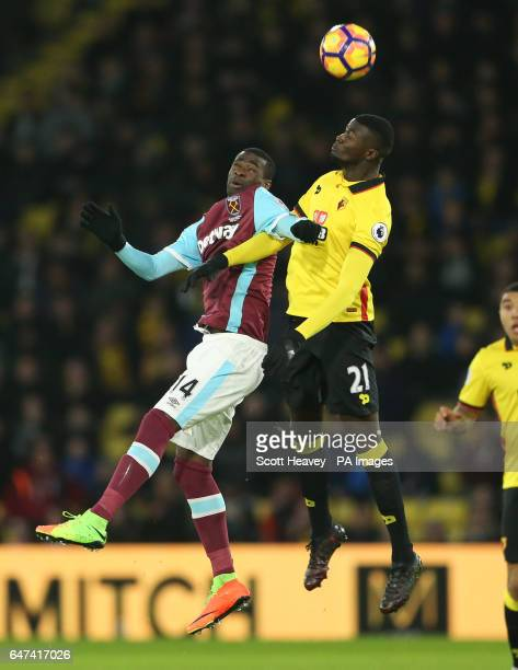 Watford's M'Baye Niang and West Ham's Pedro Obiang during the Premier League match at Vicarage Road Watford