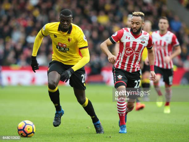 Watford's M'Baye Niang beats Southampton's Nathan Redmond during EPL Premier League match between Watford against Southampton at Vicarage Road...