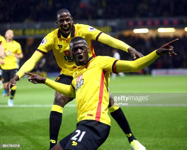 Watford's M'Baye Niang celebrates scoring his sides first goal during EPL Premier League match between Watford against West Bromwich Albion at...