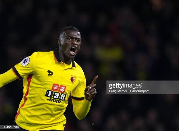 Watford's Mbaye Niang celebrates scoring the opening goal during the Premier League match between Watford and West Bromwich Albion at Vicarage Road...