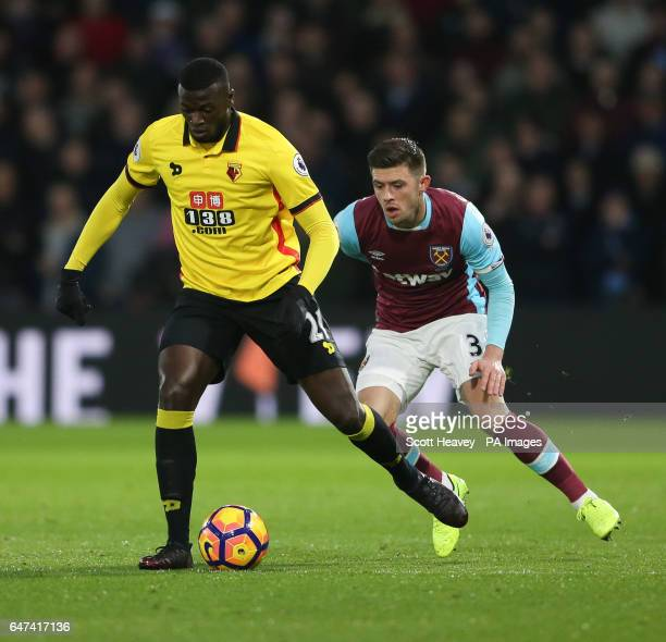 Watford's M'Baye Niang during the Premier League match at Vicarage Road Watford