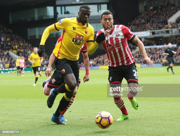 Watford's M'Baye Niang takes on Southampton's Ryan Bertrand during EPL Premier League match between Watford against Southampton at Vicarage Road...