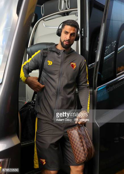 Watford's Miguel Britos arrives for the match