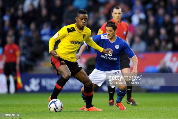 Watford's Nathaniel Chalobah and Leicester City's Anthony Knockaert battle for the ball