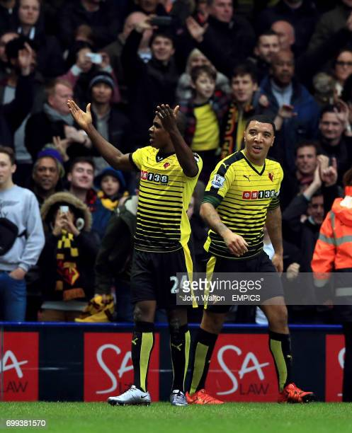 Watford's Odion Ighalo celebrates scoring his side's third goal of the game with Troy Deeney
