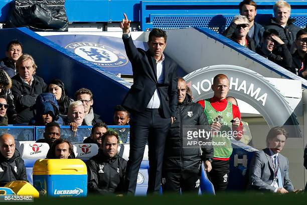 Watford's Portuguese head coach Marco Silva shouts instructions to his players from the touchline during the English Premier League football match...