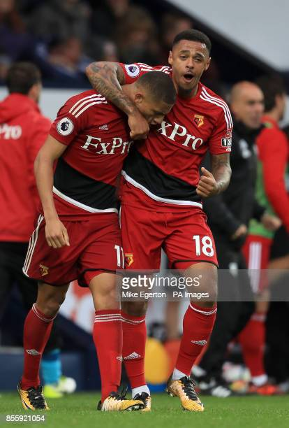 Watford's Richarlison and Andre Gray celebrate after the final whistle during the Premier League match at The Hawthorns West Bromwich