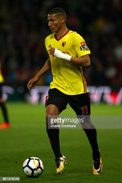 Watford's Richarlison attacks during the Premier League match between Watford and Arsenal at Vicarage Road on October 14 2017 in Watford England